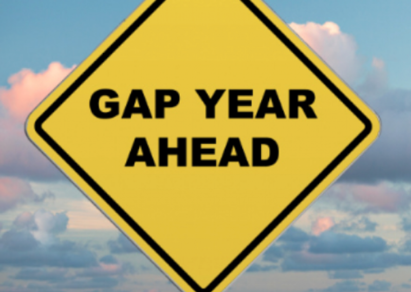 "Sign that says ""Gap Year Ahead"""