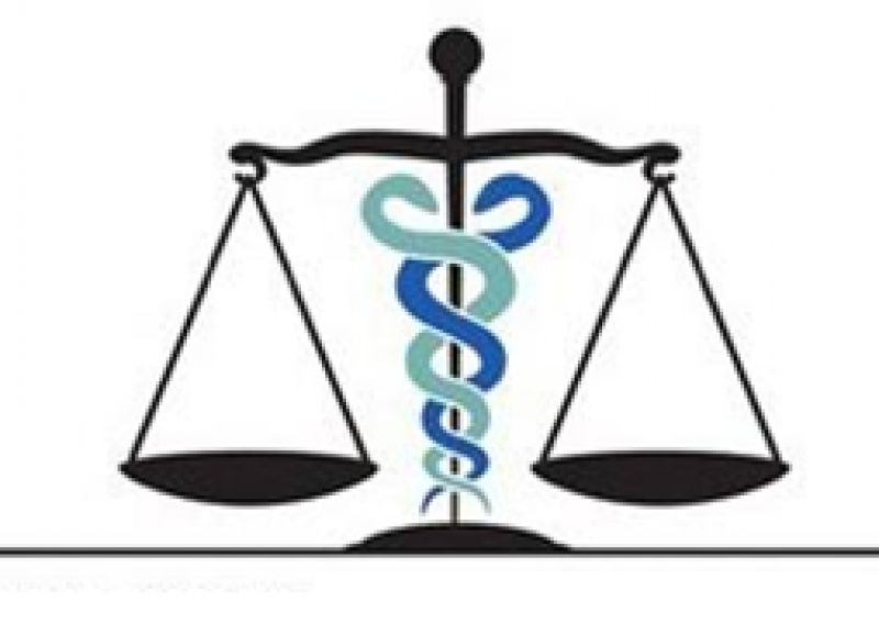 A drawing of the medical and legal symbols combined: two snakes intertwined around the scales of justice